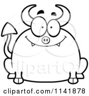 Cartoon Clipart Of A Black And White Chubby Smiling Devil Vector Outlined Coloring Page