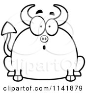 Cartoon Clipart Of A Black And White Chubby Surprised Devil Vector Outlined Coloring Page