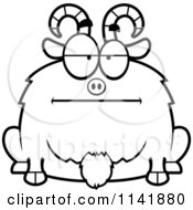 Cartoon Clipart Of A Black And White Chubby Bored Goat Vector Outlined Coloring Page