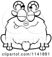 Cartoon Clipart Of A Black And White Chubby Goofy Goat Vector Outlined Coloring Page