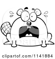 Cartoon Clipart Of A Black And White Scared Chubby Beaver Vector Outlined Coloring Page