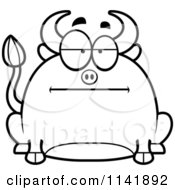 Cartoon Clipart Of A Black And White Chubby Bored Bull Vector Outlined Coloring Page