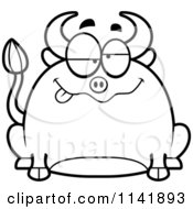 Cartoon Clipart Of A Black And White Chubby Drunk Bull Vector Outlined Coloring Page
