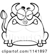 Cartoon Clipart Of A Black And White Chubby Mad Bull Vector Outlined Coloring Page