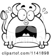 Cartoon Clipart Of A Black And White Chubby Stressed Bull Vector Outlined Coloring Page