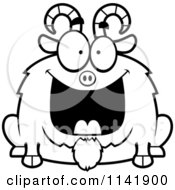 Cartoon Clipart Of A Black And White Chubby Grinning Goat Vector Outlined Coloring Page