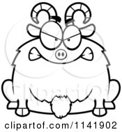 Cartoon Clipart Of A Black And White Chubby Mad Goat Vector Outlined Coloring Page