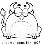 Cartoon Clipart Of A Black And White Chubby Sad Bull Vector Outlined Coloring Page