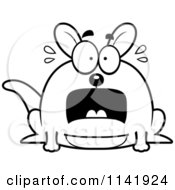 Cartoon Clipart Of A Black And White Chubby Kangaroo Panicking Vector Outlined Coloring Page