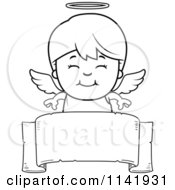 Cartoon Clipart Of A Black And White Smiling Angel Boy Over A Banner Vector Outlined Coloring Page
