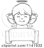 Cartoon Clipart Of A Black And White Smiling Angel Girl Over A Banner Vector Outlined Coloring Page