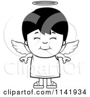 Cartoon Clipart Of A Black And White Smiling Angel Boy Vector Outlined Coloring Page
