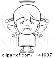 Cartoon Clipart Of A Black And White Mean Angel Girl Vector Outlined Coloring Page