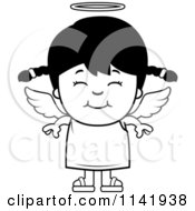 Cartoon Clipart Of A Black And White Smiling Angel Girl Vector Outlined Coloring Page