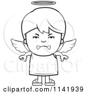 Cartoon Clipart Of A Black And White Mean Angel Boy Vector Outlined Coloring Page