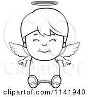 Cartoon Clipart Of A Black And White Smiling Sitting Angel Boy Vector Outlined Coloring Page