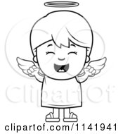 Cartoon Clipart Of A Black And White Happy Angel Boy Vector Outlined Coloring Page