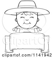 Cartoon Clipart Of A Black And White Farmer Boy Over A Banner Vector Outlined Coloring Page