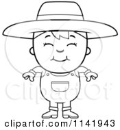 Cartoon Clipart Of A Black And White Smiling Farmer Boy Vector Outlined Coloring Page