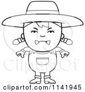 Cartoon Clipart Of A Black And White Mean Farmer Girl Vector Outlined Coloring Page