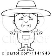Cartoon Clipart Of A Black And White Mad Farmer Boy Vector Outlined Coloring Page