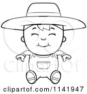 Cartoon Clipart Of A Black And White Sitting Farmer Boy Vector Outlined Coloring Page