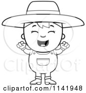 Cartoon Clipart Of A Black And White Happy Farmer Boy Vector Outlined Coloring Page