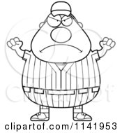 Cartoon Clipart Of A Black And White Angry Male Baseball Player Vector Outlined Coloring Page