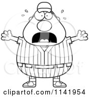 Cartoon Clipart Of A Black And White Stressed Male Baseball Player Vector Outlined Coloring Page