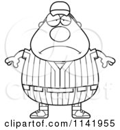 Cartoon Clipart Of A Black And White Depressed Male Baseball Player Vector Outlined Coloring Page