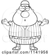 Cartoon Clipart Of A Black And White Shrugging Careless Male Baseball Player Vector Outlined Coloring Page