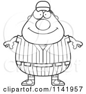 Cartoon Clipart Of A Black And White Happy Male Baseball Player Vector Outlined Coloring Page