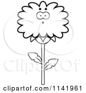 Cartoon Clipart Of A Black And White Surprised Dandelion Flower Character Vector Outlined Coloring Page
