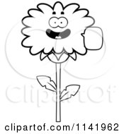 Cartoon Clipart Of A Black And White Talking Dandelion Flower Character Vector Outlined Coloring Page