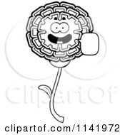 Cartoon Clipart Of A Black And White Talking Marigold Flower Character Vector Outlined Coloring Page by Cory Thoman