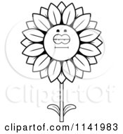 Cartoon Clipart Of A Black And White Bored Sunflower Character Vector Outlined Coloring Page by Cory Thoman