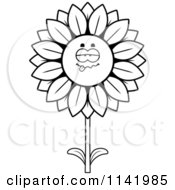 Cartoon Clipart Of A Black And White Drunk Sunflower Character Vector Outlined Coloring Page by Cory Thoman