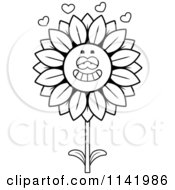 Cartoon Clipart Of A Black And White Sunflower Character In Love Vector Outlined Coloring Page by Cory Thoman