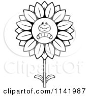 Cartoon Clipart Of A Black And White Mad Sunflower Character Vector Outlined Coloring Page by Cory Thoman