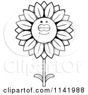 Cartoon Clipart Of A Black And White Sleeping Sunflower Character Vector Outlined Coloring Page by Cory Thoman