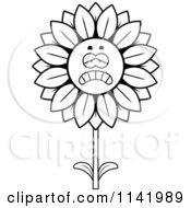 Cartoon Clipart Of A Black And White Depressed Sunflower Character Vector Outlined Coloring Page by Cory Thoman