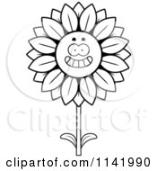 Cartoon Clipart Of A Black And White Happy Smiling Sunflower Character Vector Outlined Coloring Page by Cory Thoman