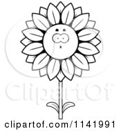 Cartoon Clipart Of A Black And White Surprised Sunflower Character Vector Outlined Coloring Page by Cory Thoman