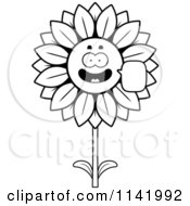 Cartoon Clipart Of A Black And White Talking Sunflower Character Vector Outlined Coloring Page by Cory Thoman