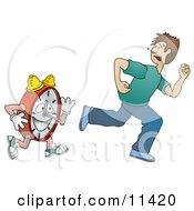 Man Running From Time Clipart Illustration
