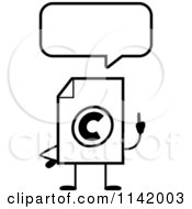 Cartoon Clipart Of A Black And White Copyright Document Mascot Talking Vector Outlined Coloring Page