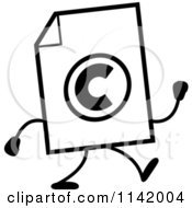 Cartoon Clipart Of A Black And White Copyright Document Mascot Walking Vector Outlined Coloring Page