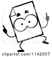 Cartoon Clipart Of A Black And White Document Mascot Doing A Happy Dance Vector Outlined Coloring Page