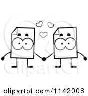 Cartoon Clipart Of Black And White Document Mascots Holding Hands Vector Outlined Coloring Page