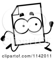 Cartoon Clipart Of A Black And White Document Mascot Running Vector Outlined Coloring Page